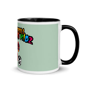 "The Rock n Roll Wrestling Kids ""The Gang's All Here"" Mug with Color Inside mint yellow"