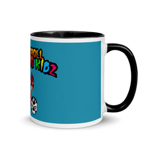 "The Rock n Roll Wrestling Kids ""The Gang's All Here"" Mug with Color Inside blue yellow"