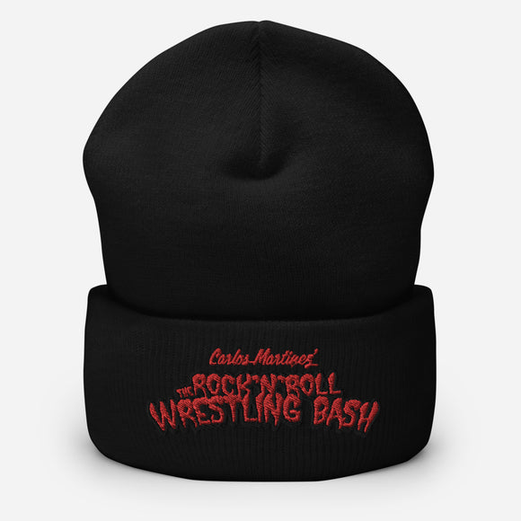 The Rock n Roll Wrestling Bash Cuffed Embroidery Beanie elk