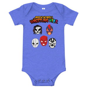 "The Rock n Roll Wrestling Kids ""The Gang's All Here"" Baby Body heather blue"