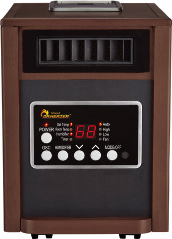 Dr Infrared Heater DR998, 1500W, Advanced Dual Heating System with Humidifier and Oscillation Fan and Remote Control, Walnut **Available December 2017
