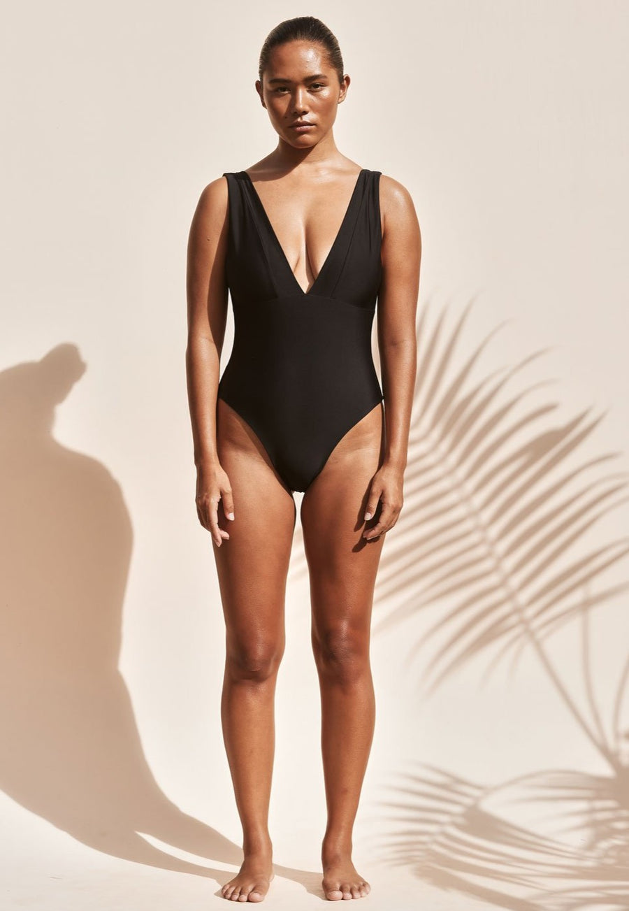 front-of-one-piece-bathers-swimwear-black-with-v-neck-and-high-cut
