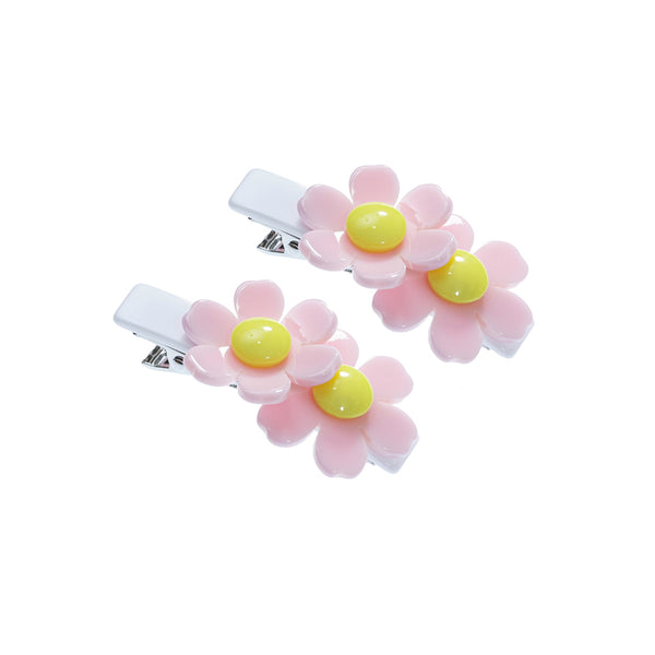 Double Daisy Alligator Clips - Light Pink