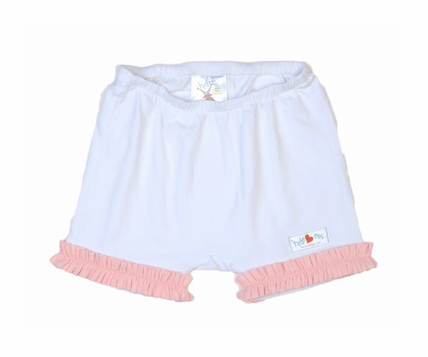 Hide-ees White with Light Pink Ruffles