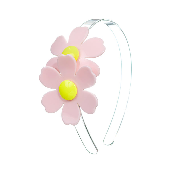 Double Daisy Headband - Light Pink