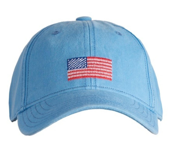 Kids American Flag on Light Blue Hat