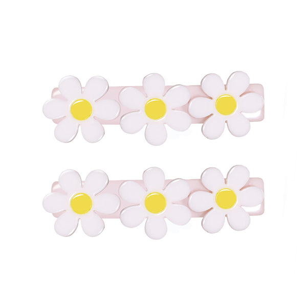 Daisy Alligator Clips - White with Light Pink