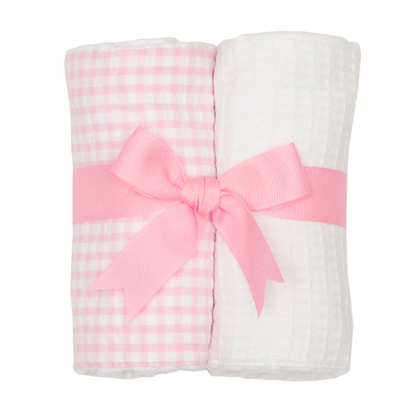 Pink Check Set of Two Fabric Burps