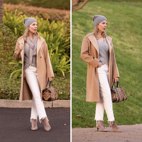 blogger in white jeans and a camel coat wears calla boots