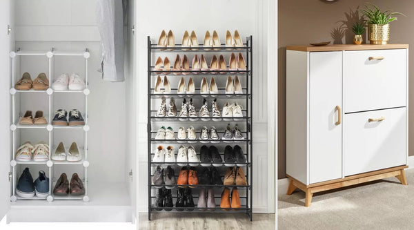 three shoe storage options
