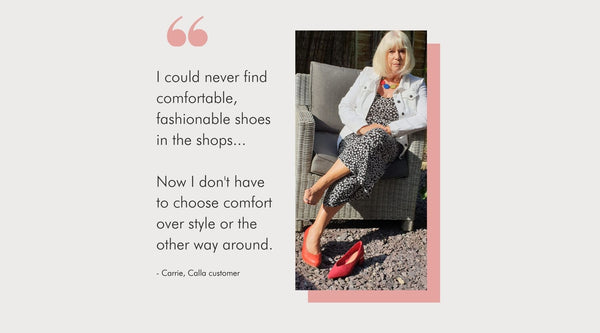 photo of a woman with bunions alongside a quote