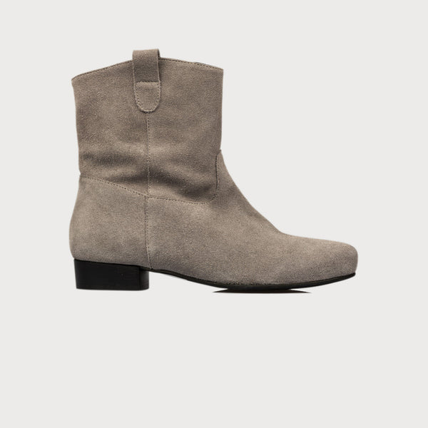 grey suede boots side view