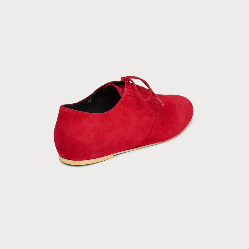 red suede flat brogue back view