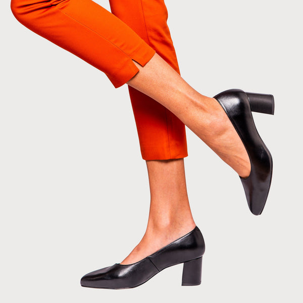 black leather court heel block heel shoes bunions