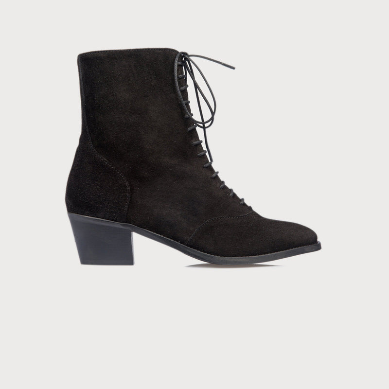 comfortable wide fit shoes bunions lace up black suede boots