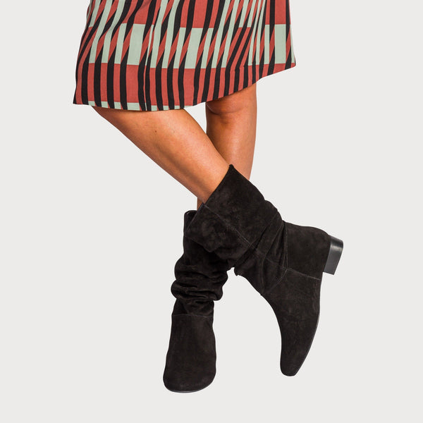 black suede slouch boots bunions comfortable