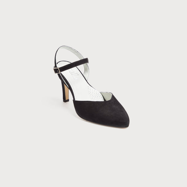 black suede heeled sandals selena for wide feet and bunions