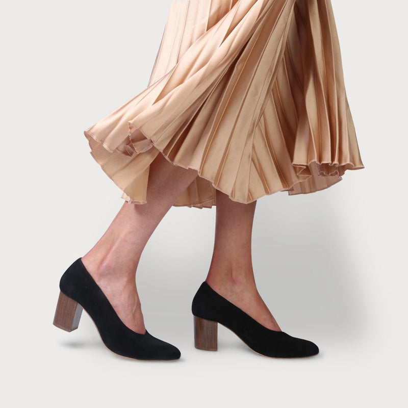 calla sara black suede block heel shoe for women with bunions in a wide fit as worn by a model