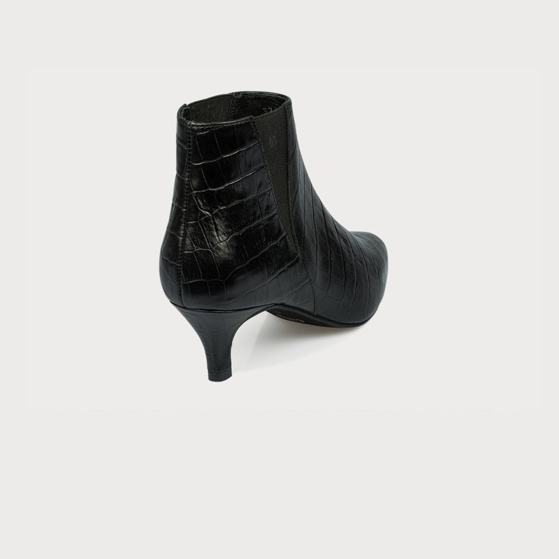 black kitten heel pointed toe boots back view