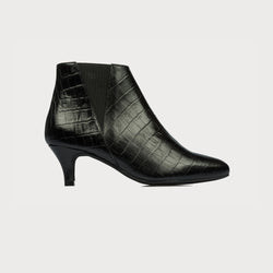 black pointed toe heeled boots side view