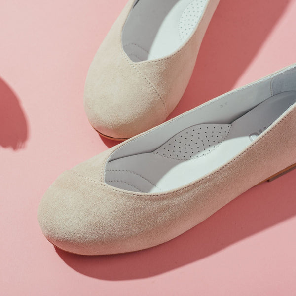 beige flats close up