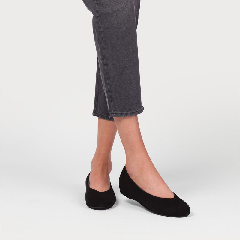 charlotte black suede flat shoes