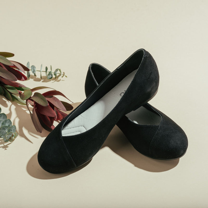 black suede flats for bunions