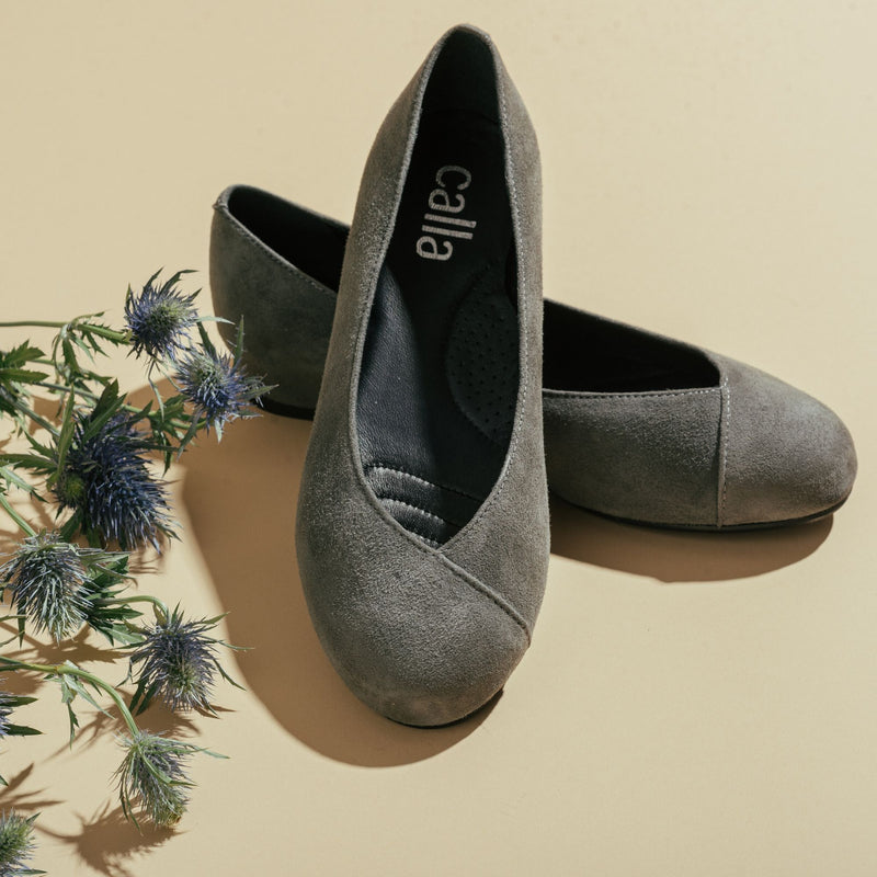 dark grey suede flats for bunions