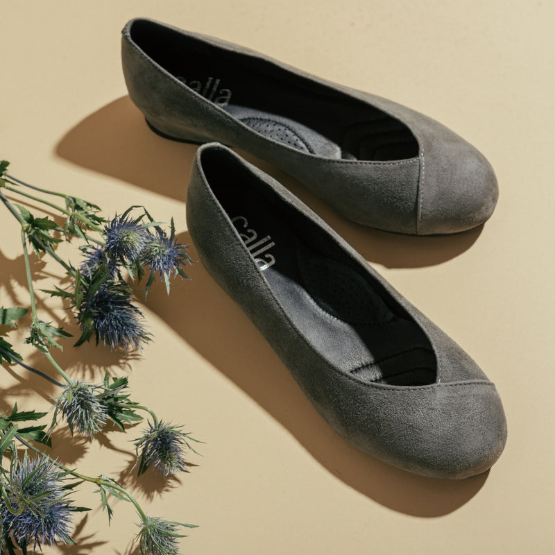 dark grey flat shoes for bunions