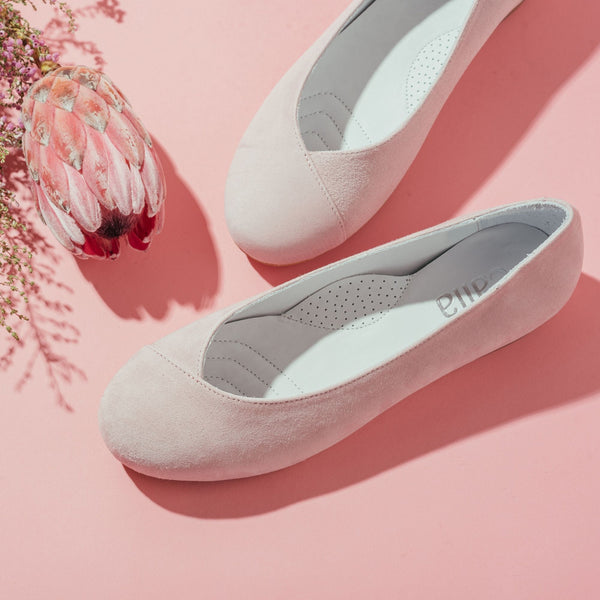 pink suede flat shoes for bunions