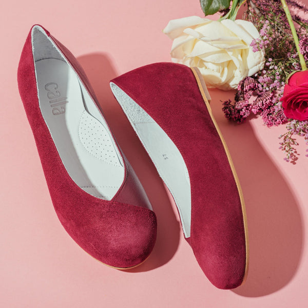 plum colour flat shoes for bunions