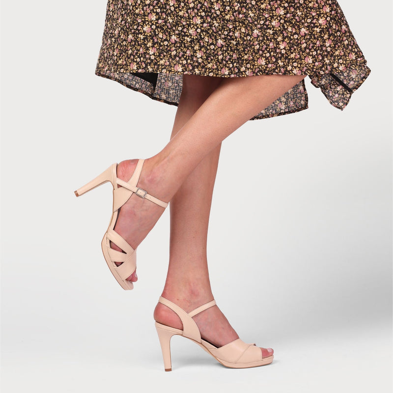 emily nude pink leather heel