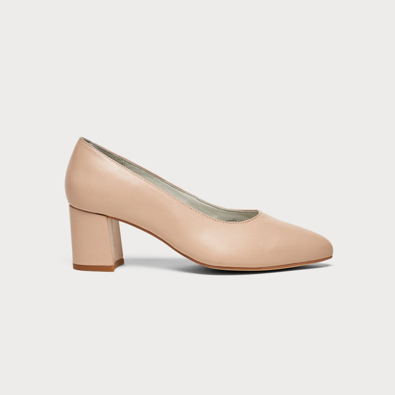 nude leather block heel court shoe