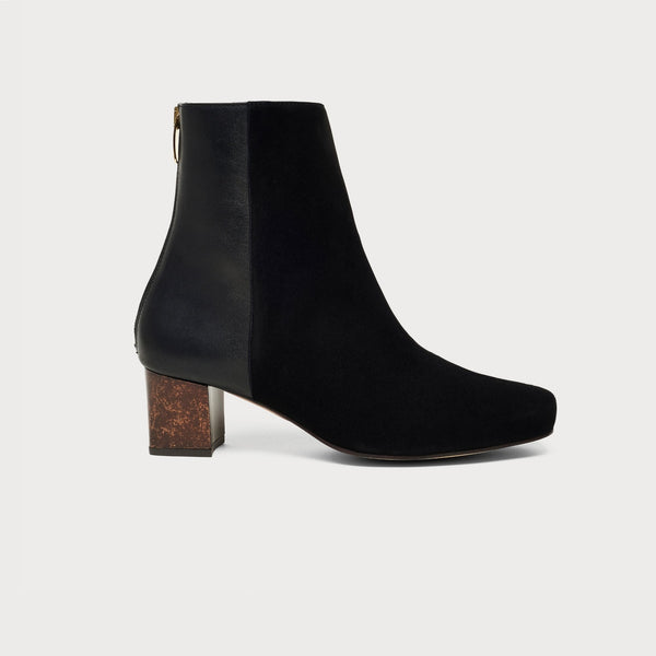black block heel boot side view