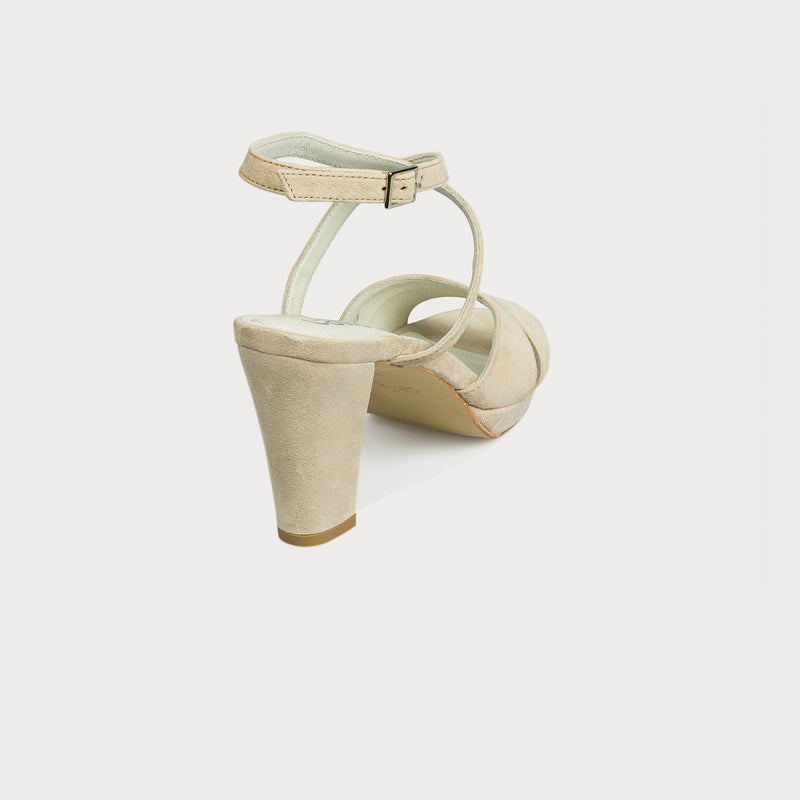 cream suede heeled sandal back view