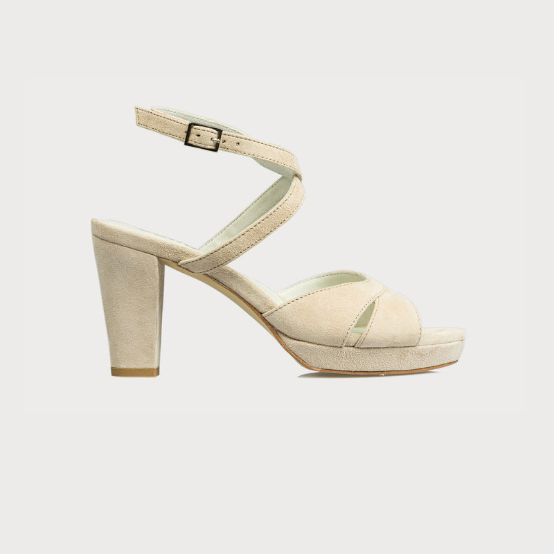 cream suede heeled sandal side view