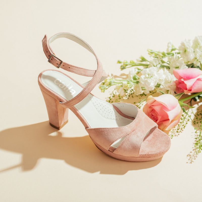 pink heeled sandal side view
