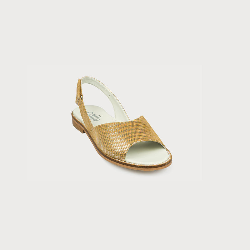 gold slingback sandals front view