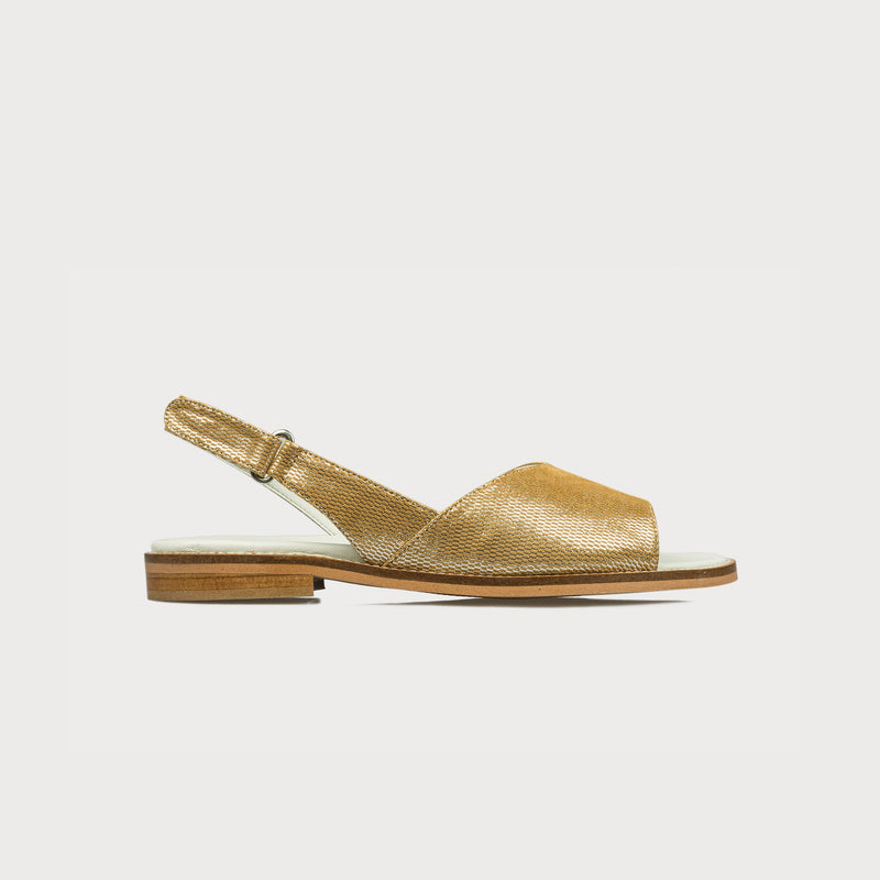 gold sandals side view