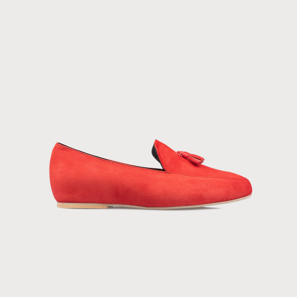red suede loafer shoe side view