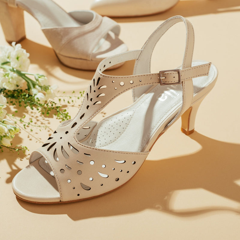 cream strappy sandal with a heel