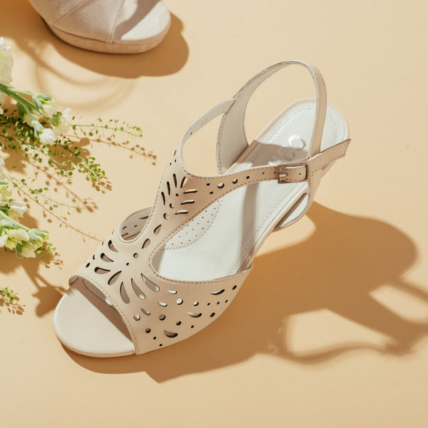 cream strappy sandal with a heel top view