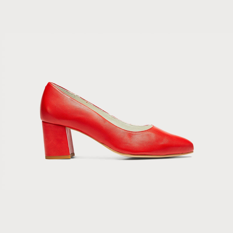 red leather block heel court shoes wide feet bunions comfortable stylish