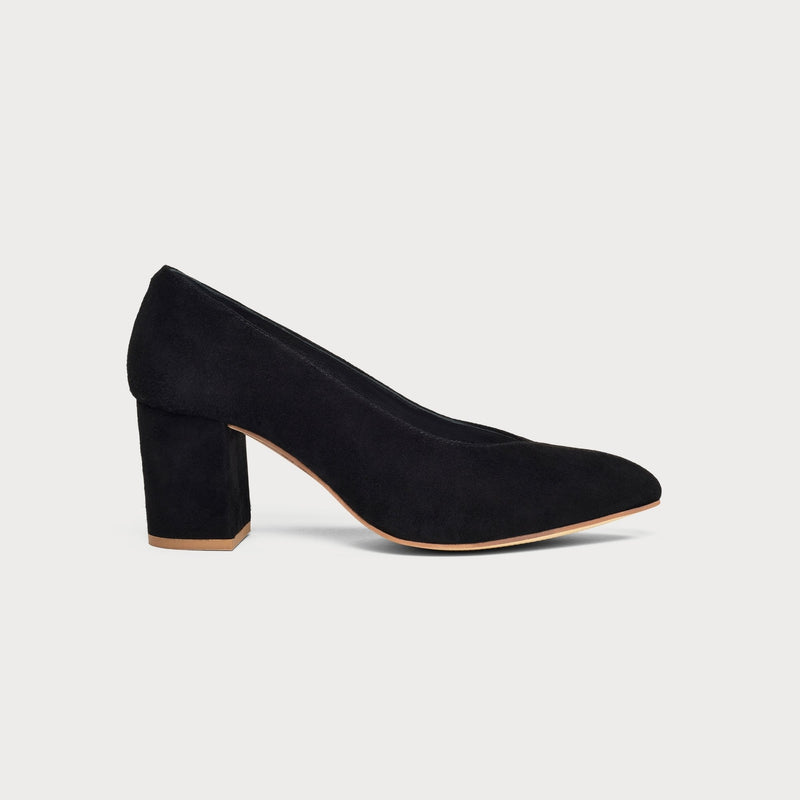 black suede heeled court shoe side view