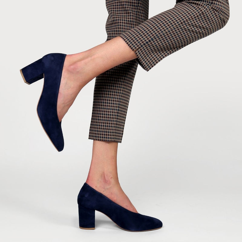 navy suede block heel worn
