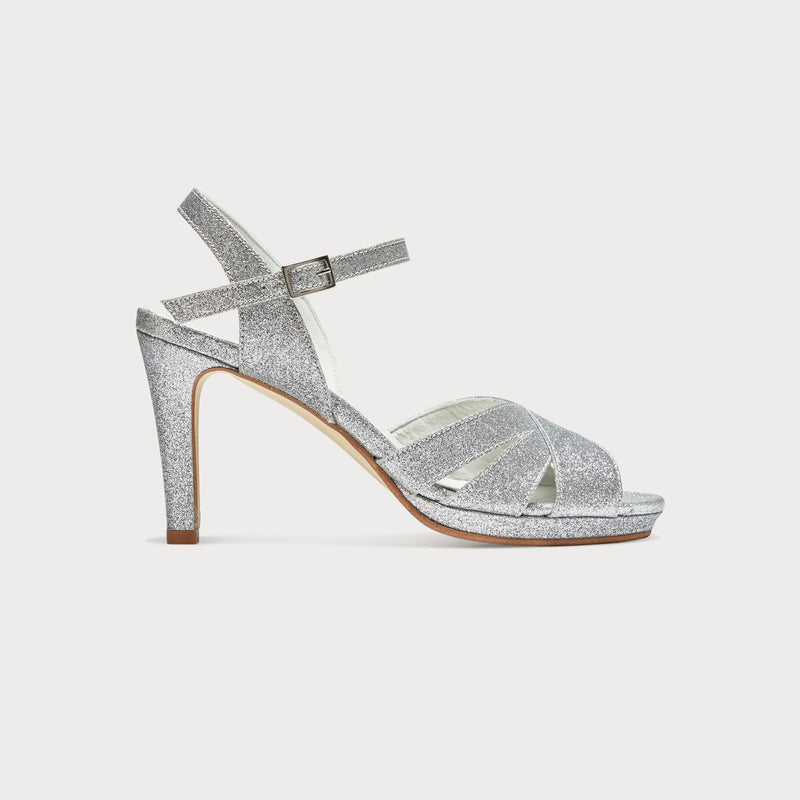 silver glitter heeled sandals court shoes bunions stylish fashion