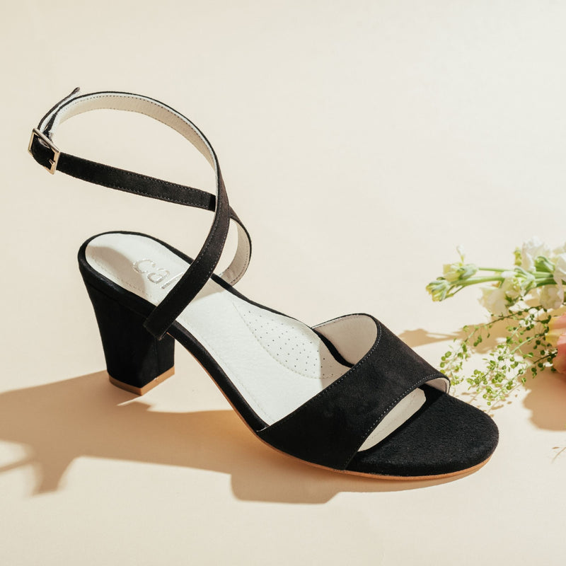 black strappy heel side view