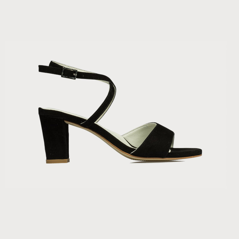 block heel black sandal side
