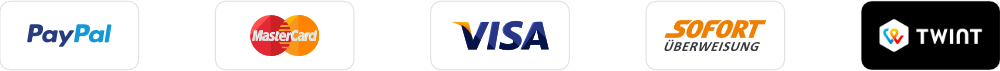 paymentbadge paypal mastercard visa sofortüberweisung twint logos