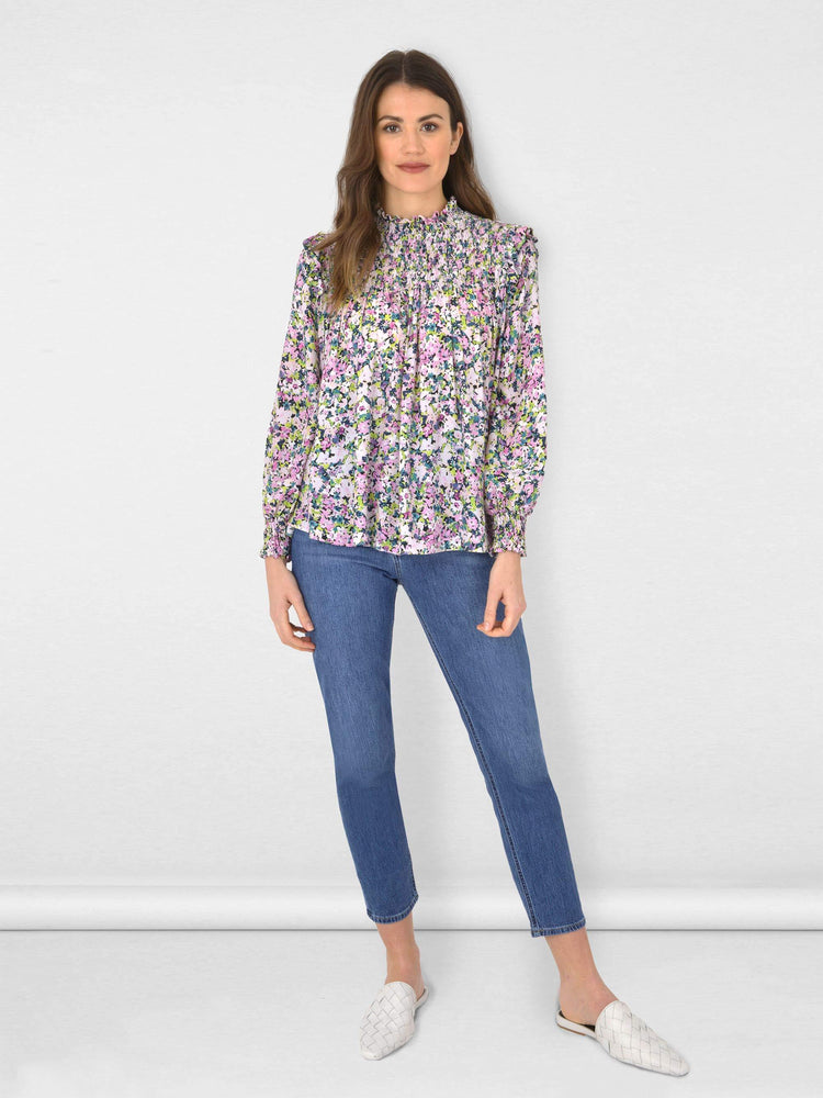 Ditsy Shirrred High Neck Blouse
